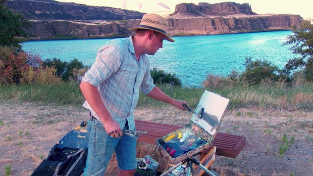 Anton Pavlenko competes during the 2016 Pacific Northwest Plein Air painting event.