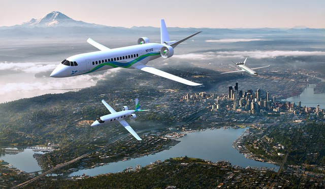 Rendering of hybrid-electric, short-haul airliners under design by Kirkland, Washington-based Zunum Aero.