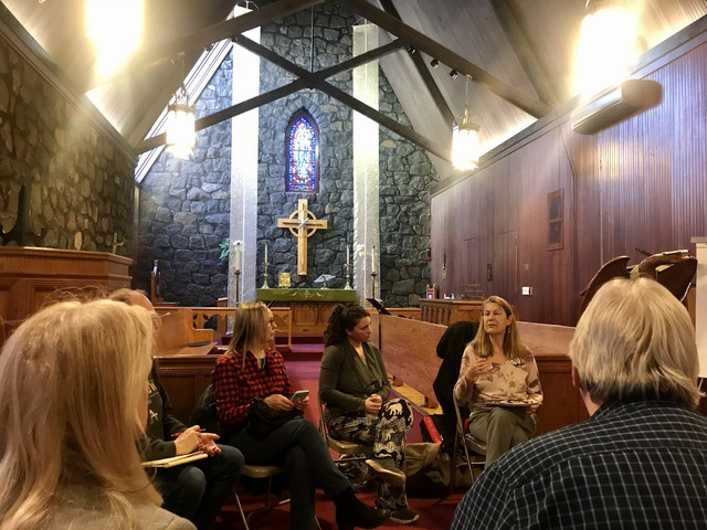 People gather for an environmental breakout session during a Faith Action Network advocacy day on Feb. 8, 2020, at St. Michael's Episcopal Mission in Yakima. The group talks about environmental actions they'd like to support, such as the sustainable farms and fields bill.