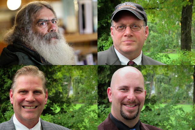 Minor party candidates for Oregon Governor. Clockwise from top left - Paul Grad, Libertarian Party candidate, Chris Henry, Progressive Party candidate, Jason Levin, Pacific Green Party candidate, and Aaron Auer, Constitution Party candidate .