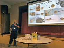 Jim Buck gave his popular ''Camping In Your House'' talk to an audience in Port Angeles, Washington, last Tuesday.