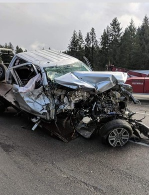 Welder Blaine Wilmotte was riding in the front seat of this pickup when it collided with a fallen Amtrak rail car on I-5.