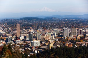 View of Portland from the Pittock Mansion, Portland, Oregon.