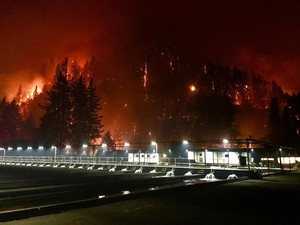 The Eagle Creek Fire takes spreads through the Columbia River Gorge, September 4, 2017.