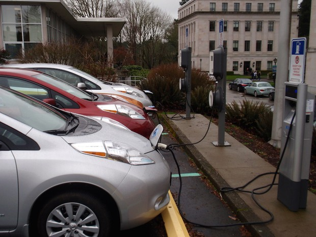 File Photo Of Electric Cars Charging At The Washington State Capitol In 2017