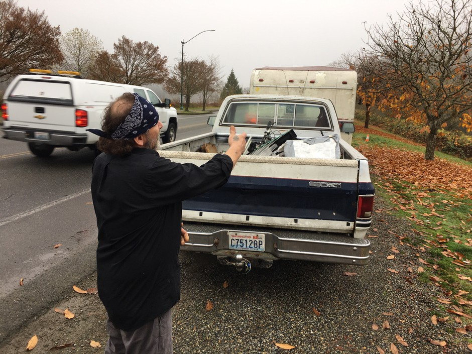 A man who identified himself as Ricky Smith, and who asked that his face not be shown, is among the homeless people living in RVs and trailers along Deschutes Parkway in Olympia, which is part of Washington's Capitol campus. Smith said the state should let them stay as long as the campers don't make a mess.