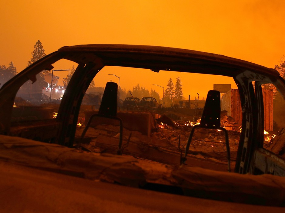 California's Camp Fire, fueled by gusty winds and low humidity, spread through the northern town of Paradise, burning homes, cars and businesses on Friday.