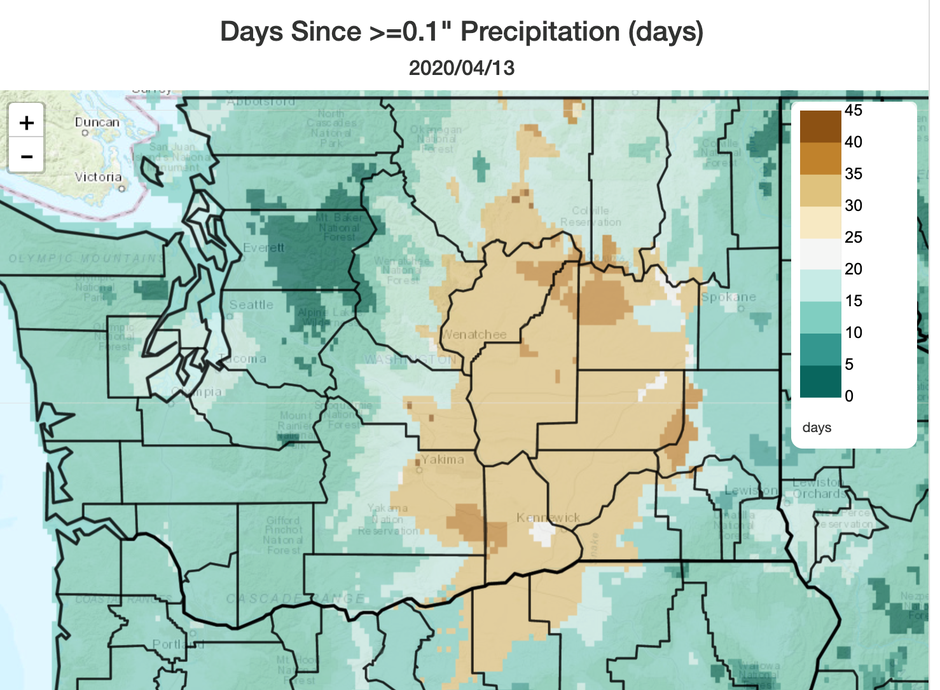 Areas of the Columbia Basin and central Washington are dry and increasingly fire prone heading into late spring and fire season.