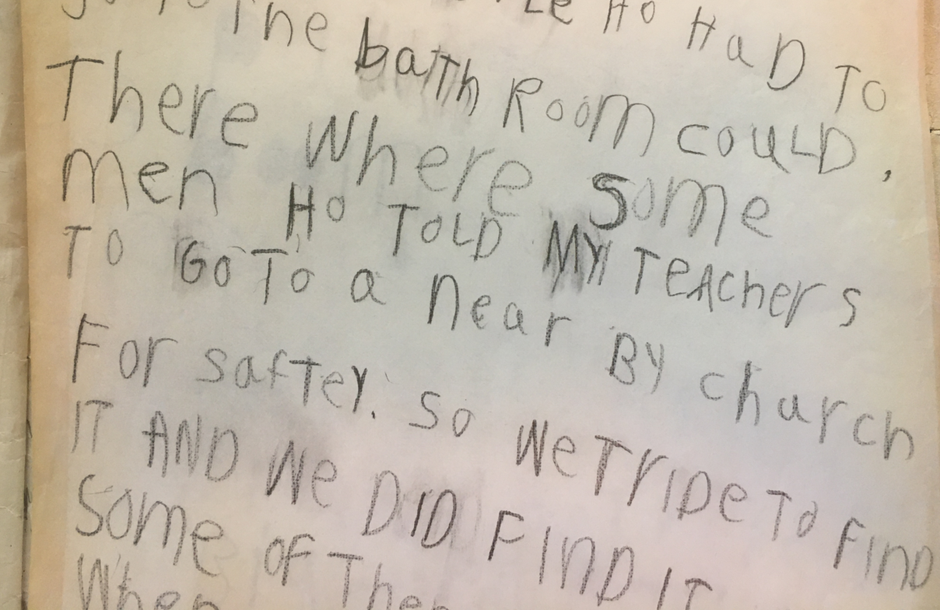 In his first grade journal, Austin Jenkins described reaching Randle, Washington after evacuating Camp Cispus and being directed to a local church to take shelter following the eruption of Mount St. Helens on May 18, 1980.