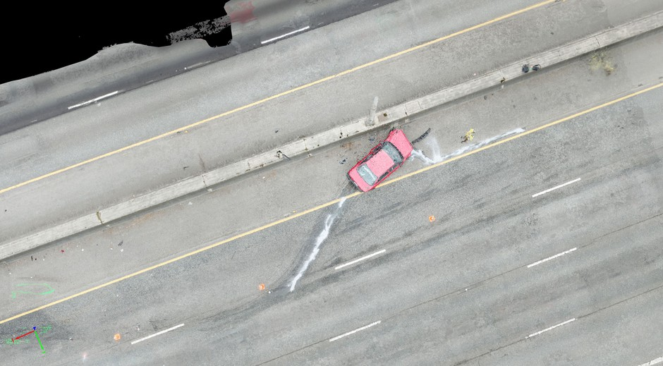 Screen shot from a 3-D crash scene model made by combining multiple still photos taken by one of the state patrol's drones.