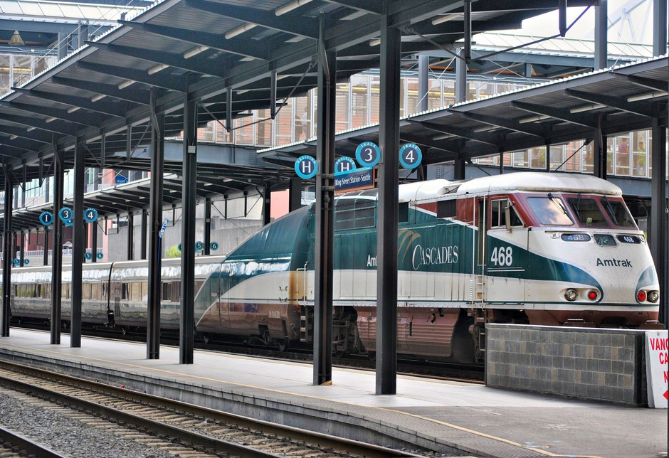 File photo of Amtrak Cascades train at Seattle's Union Station.
