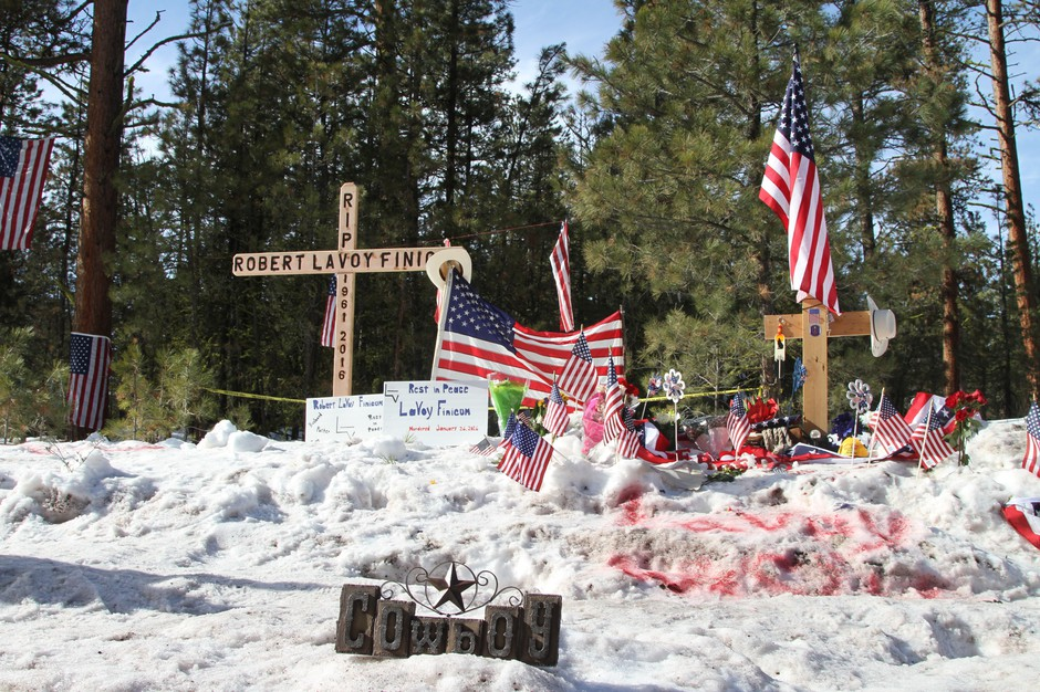 Supporters of LaVoy Finicum and the militants built a memorial on the side of Highway 395, where Finicum was fatally shot by police on Jan. 26, 2016.