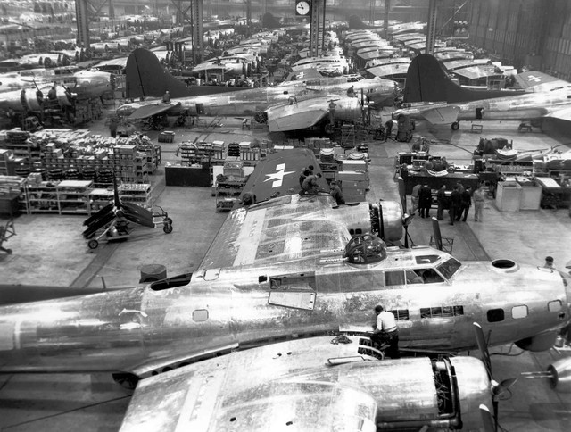 At the height of production, the Boeing Company was employing 30,000 people at Plant 2 in Seattle and completing up to 15 B-17s per day.