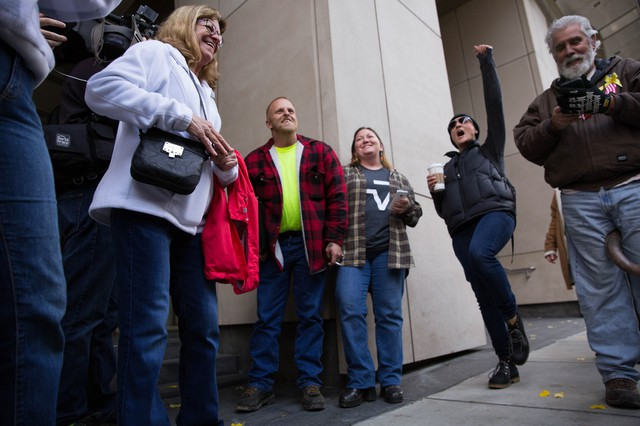 Supporters chant the names and verdicts of all seven defendants in the trial of occupiers of the Malheur National Wildlife Refuge.