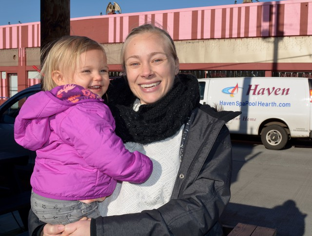 Michelle Block and her daughter Sophia stop for coffee at The Zipper.
