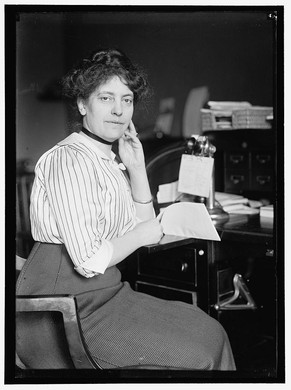 """One of the reasons documentation of Carrie B. Shelton's story remains elusive stems from the various spellings of her name throughout archives and collections. This photo from the Library of Congress of Shelton from 1914 lists her as """"Miss Carolyn B. Sheldon."""" In reality, her name is Carrie Bertha Shelton."""