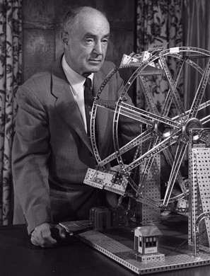 A.C. Glibert poses with his most lucrativelysuccessful invention, the erector set.