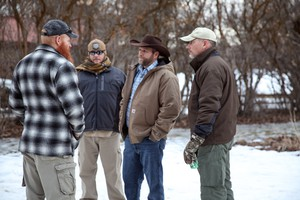 Ammon Bundy, one of the former leaders of the armed occupation in Harney County, Oregon, talks with occupiers at Malheur National Wildlife Refuge in January 2016.