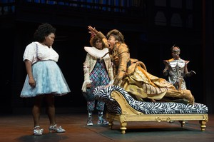 """Christiana Clark, center, plays the lion in director Robert O'Hara's production of """"The Wiz"""" at the Oregon Shakespeare Festival. Clark was the recent target of racist threats and a death threat in Ashland."""