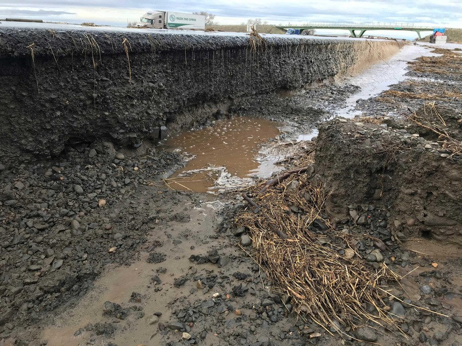 Flood waters damage sections of Highway 187 in Eastern Oregon on Feb. 7, 2020.
