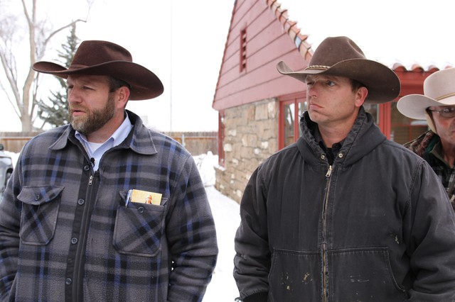 Ryan Bundy, right, told OPB that he and the other armed men occupying the Malheur National Wildlife Refuge headquarters will leave if Harney County residents want them to. The self-proclaimed militiamen have been occupying the buildings since Saturday.