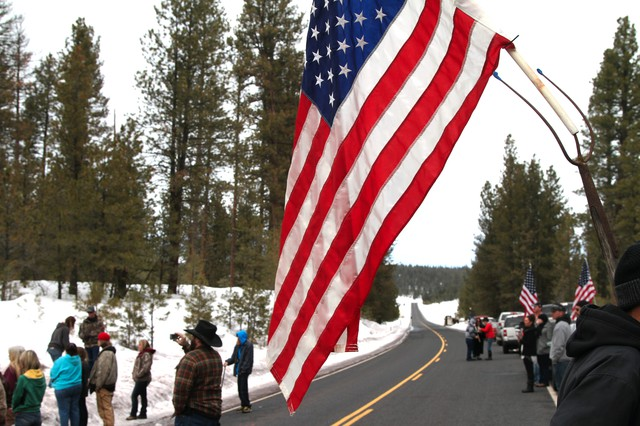 Dozens of people flocked to a roadside memorial at the scene where occupation spokesperson LaVoy Finicum was killed in an altercation with law enforcement officials.