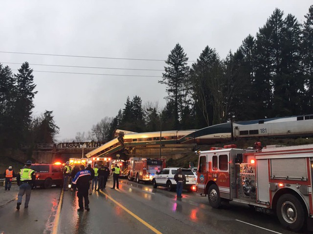 A Portland-bound Amtrak train derailed near Tacoma, Wash., Monday, Dec. 18, 2017.