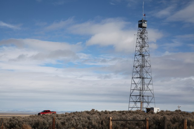 A watch tower at the Malheur National Wildlife Refuge.