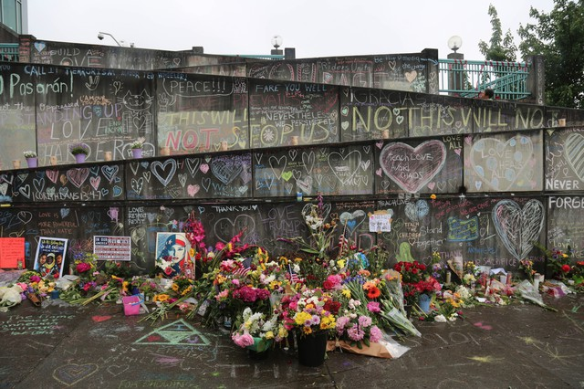 A makeshift memorial stands at the Hollywood MAX station, May 30, 2017, Portland, Oregon.
