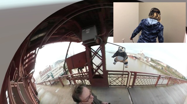 Wearing an HTC Vive headset, Kristin Lucas (inset) looks into the 360 video that Brooklyn artist William Pappenheimer filmed walking across the Broadway Bridge (seen here as a 2D screenshot). She can fully move into the bubble, or explore one of the other 360 videos that Pappenheimer has placed nearby.