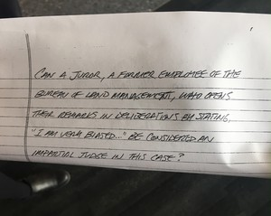 In a note to U.S. District Judge Anna Brown, the jury raised questions about the impartiality of one of itsmembers. Brown has sent a note back to the jury asking them forclarification.