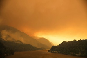 Smoke from the Eagle Creek Fire hovers over the Columbia River Gorge, Sept. 4, 2017.