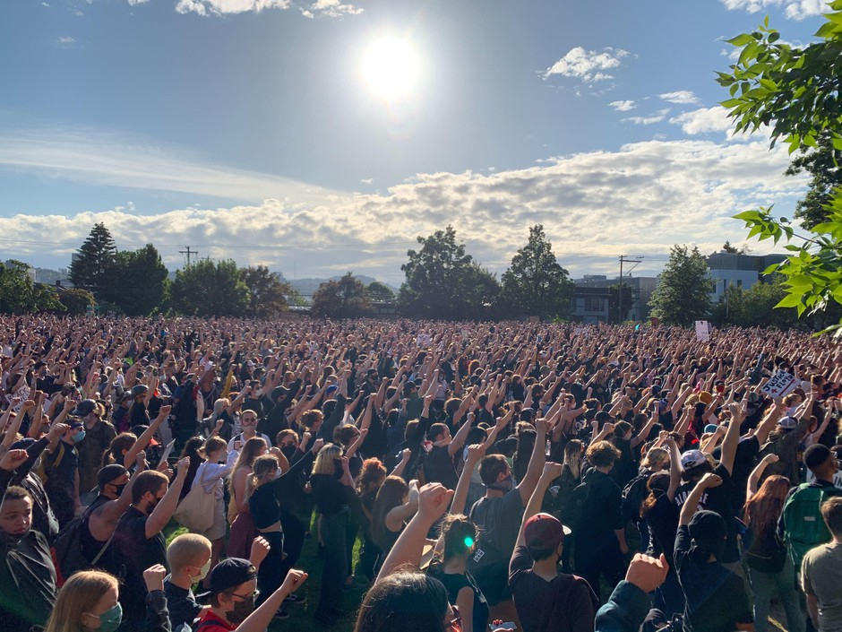A crowd assembles near Revolution Hall in Southeast Portland, Ore., to protest police brutality Tuesday, June 2, 2020. It marked the fifth consecutive night of demonstrations in Portland brought on by the killing of George Floyd by a white police officer in Minnesota.