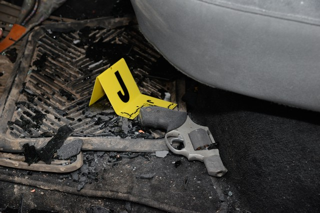 """The inside of militant leader Robert """"LaVoy"""" Finicum's vehicle. The Central Oregon Major Incident Team released photos of evidence from Finicum's Jan. 26 killing."""