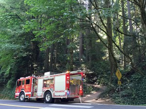 An emergency vehicle responds to a small fire in Forest Park between NW Cornell Road and Pittock Mansion.