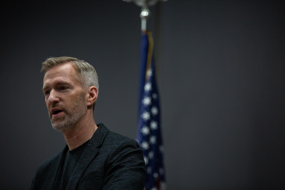 Portland Mayor Ted Wheeler speaks at a press conference to address the coronavirus pandemic in Portland, Ore., Friday, March 20, 2020.