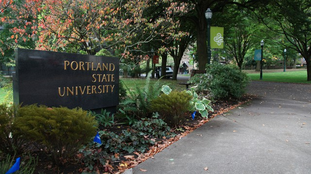 Portland State University campus in fall 2015.