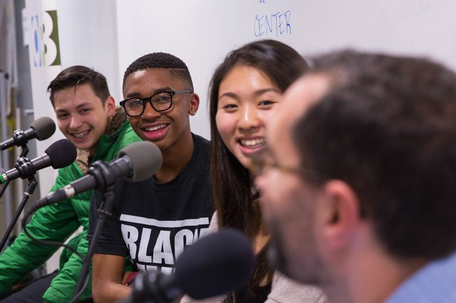 """From left, Angel Rodriguez, Tyler White and Grace Wong with """"Think Out Loud"""" host Dave Miller at a youth town hall on the American Dream at The CENTER in North Portland on Tuesday, Oct. 25, 2016."""