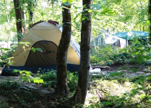 A tent along the Springwater Corridor Trail.