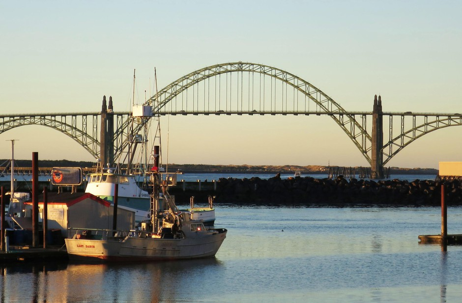 The Yaquina Bay Bridge was designed by Conde McCullough and completed in 1936.
