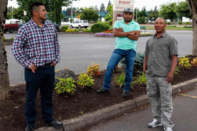 Eugene sprinkler repair technician (on left) Sergio Reyes, and his fellow landscape workers Edu Martinez and Victor Herrera were confronted by a man throwing racial epithets and threats at them at their work site in 2018.