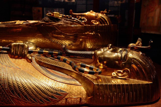 "Golden mummy cases are on display for the ""Discovery of King Tut"" exhibit at the Oregon Museum of Science and Industry from October 2018 to January 2019."