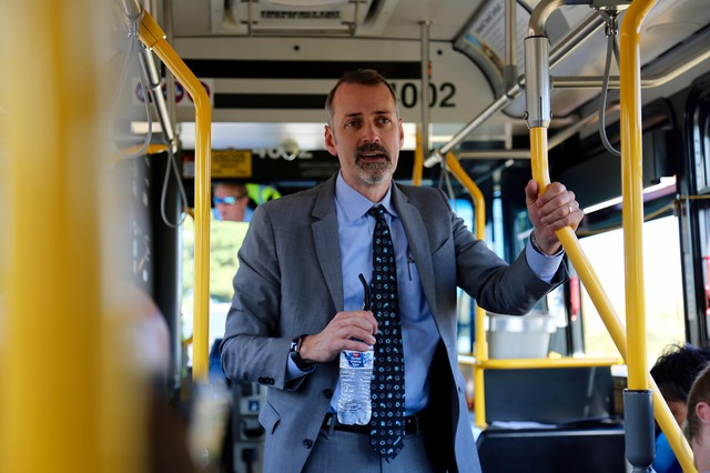 Vancouver City Manager Eric Holmes at a mobile workshop on the Stronger Vancouver funding initiative.