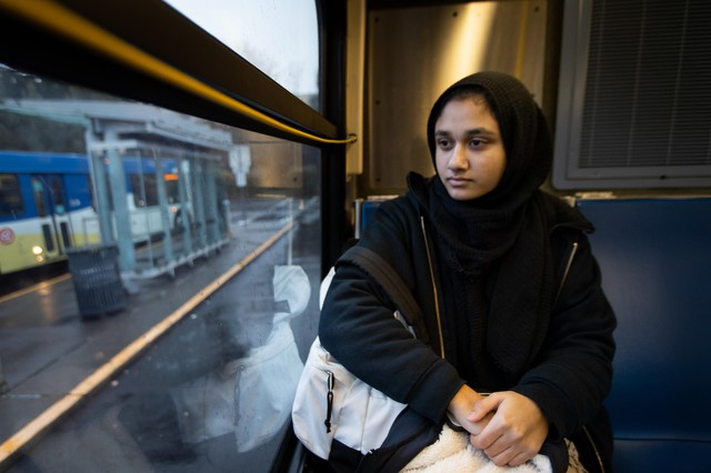 Eqra Raza is a senior at the Muslim Educational Trust in Tigard, Oregon. Raza, 18, rides the TriMet bus everyday for two hours to get to and from school. She says she's always been on guard and has been treated differently for riding public transit while wearing a head scarf.