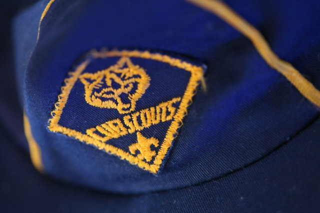 A Boy Scouts of American Cub Scouts hat. The Cub Scouts program is now open to girls as well as boys.