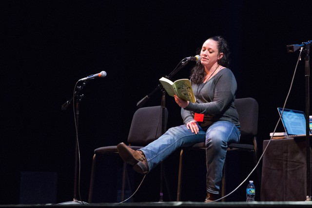 """Ruby McConnell reads from her book """"The Woman's Guide To The Wild"""" at Wordstock at the Dolores Winningstad Theatre in Portland, Oregon, Saturday, Nov. 5, 2016."""