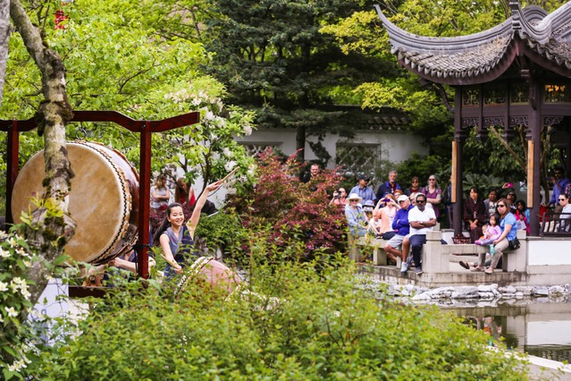 People watch Portland Taiko perform at Lan Su Chinese Garden to celebrate Asian-Pacific American Heritage Month in 2017. The garden hadfour performances each weekend throughout May from cultural groups representing a wide variety of Asian and Pacific nations.
