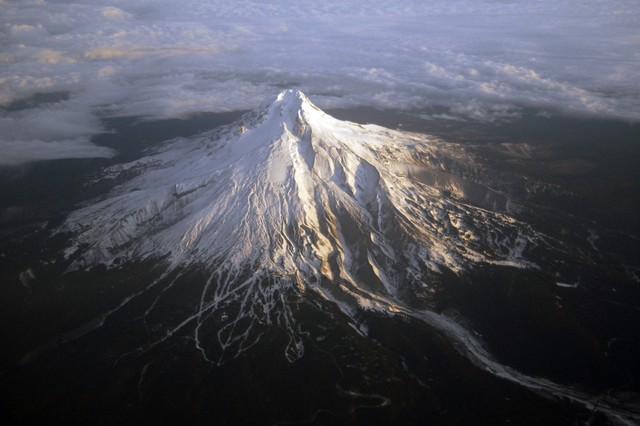 An aerial shot of Oregon's Mount Hood.