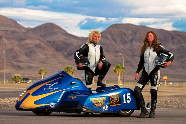 """Steady Betty"" Herlocker and Kendra ""Red Fury"" McDonald are the only all-women sidecar racing team in the country."