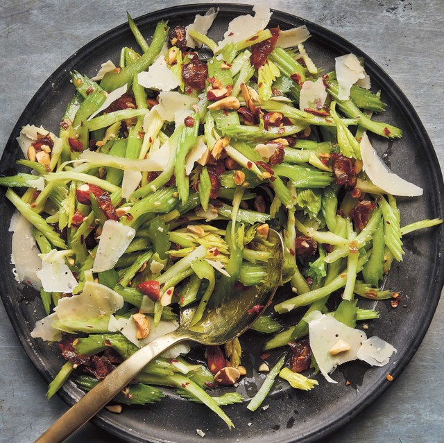 """Joshua McFadden uses celery raw in dishes like this Celery Salad with Dates, Almonds and Parmigiano but later in the season it shows up in creamed soup, as a gratin and braised with roast chicken.Excerpted from """"Six Seasons"""" by Joshua McFadden (Artisan Books). Copyright © 2017."""